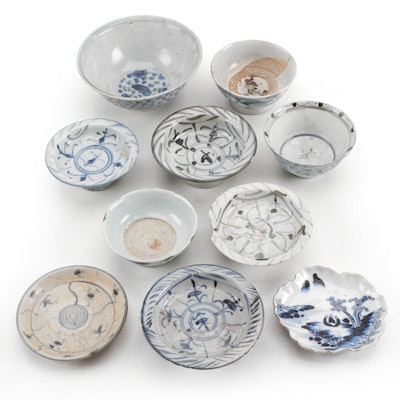 Chinese and Japanese Blue and White Stoneware Bowls and Dishes