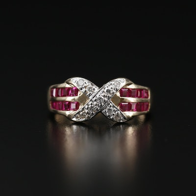14K Diamond and Ruby Crossover Ring