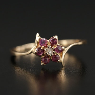 10K Diamond and Ruby Bypass Flower Ring