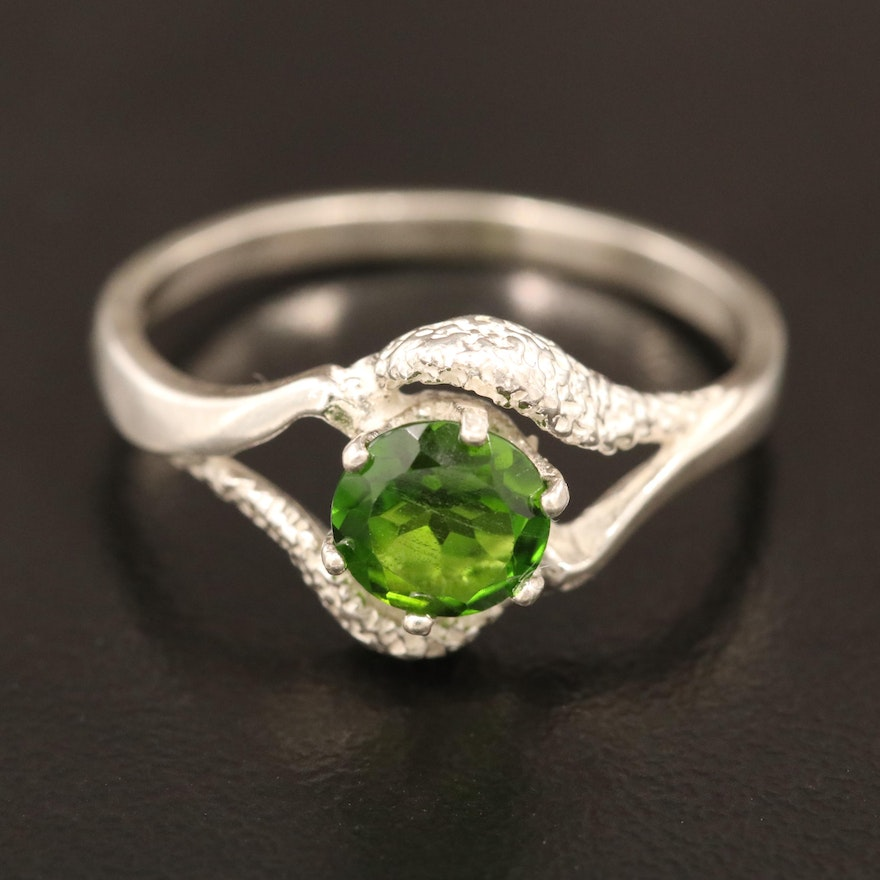 Sterling Silver Diopside Openwork Ring