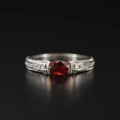 Sterling Silver Garnet and Diamond Ring with 14K Accent