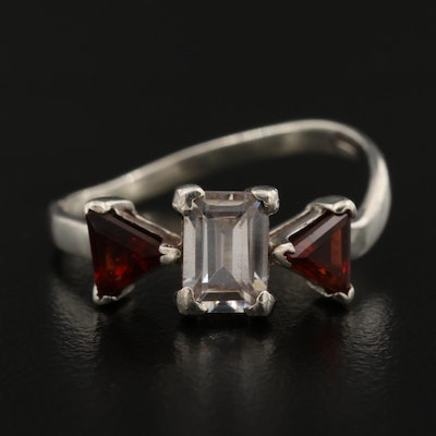 Sterling Silver Cubic Zirconia and Garnet Ring