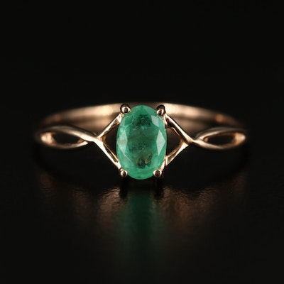 14K Emerald Solitaire Crossover Ring