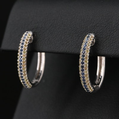 Sterling Silver and Sapphire Hinged Oval Hoop Earrings