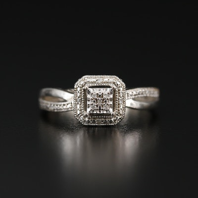 Sterling Silver Diamond Square Ring