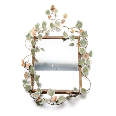 Tole Metal Floral Wall Mirror