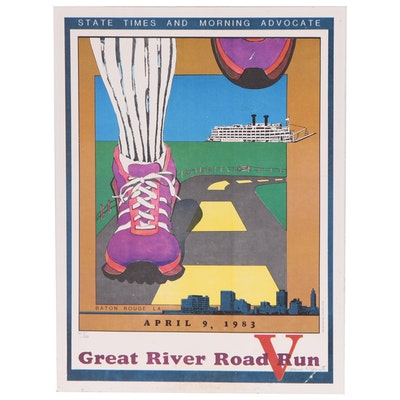 """Baton Rouge """"Great River Road Run"""" Offset Lithograph Poster, 1983"""