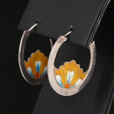 Sterling Silver and Enamel Hoop Earrings