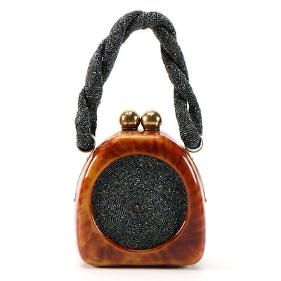 Acrylic Domed Handbag with Iridescent Beading