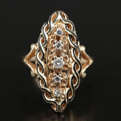 Vintage 10K Gold Diamond Navette Ring with Braided Enamel Accent