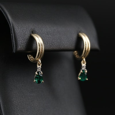 14K Emerald and Diamond J Hoop Dangle Earrings