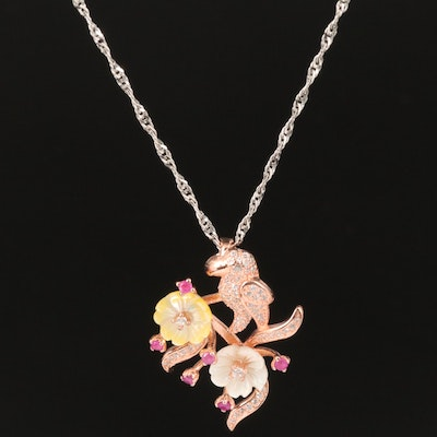 Sterling Bird and Flower Necklace with Ruby, Mother of Pearl, Cubic Zirconia