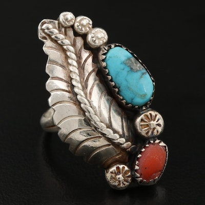 Southwestern Style Sterling Silver Turquoise and Coral Ring With Feather Design