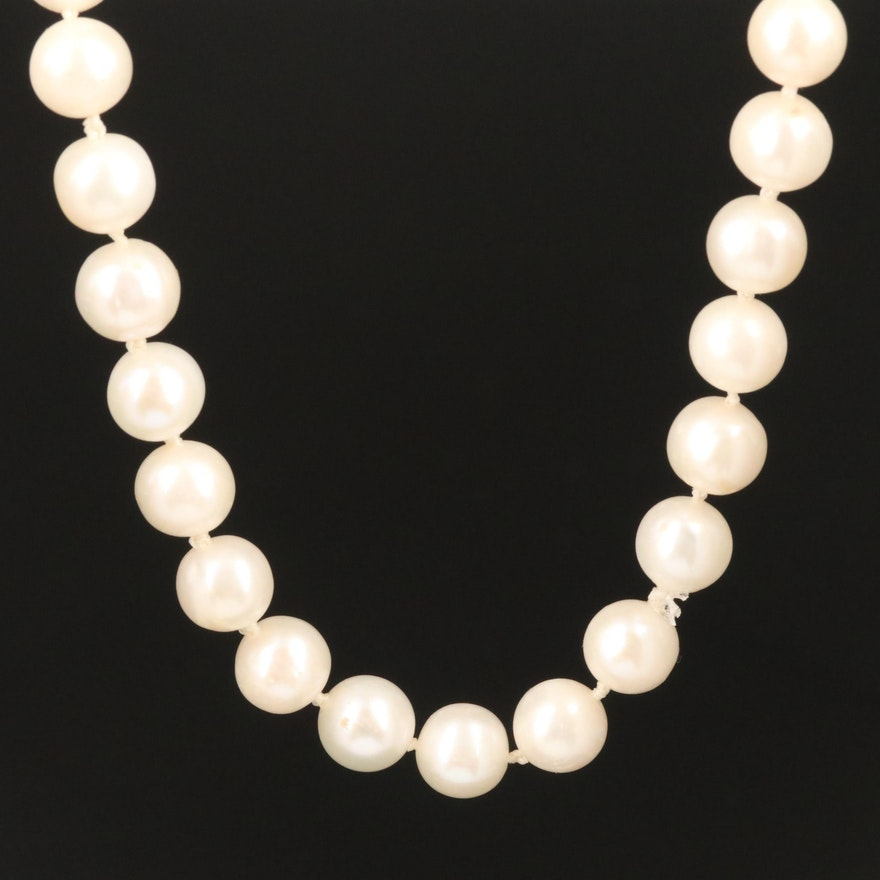Cultured Pearl Necklace With 14K Clasp