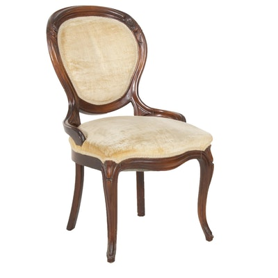 Victorian Walnut Velvet-Upholstered Parlor Chair, Early 20th Century