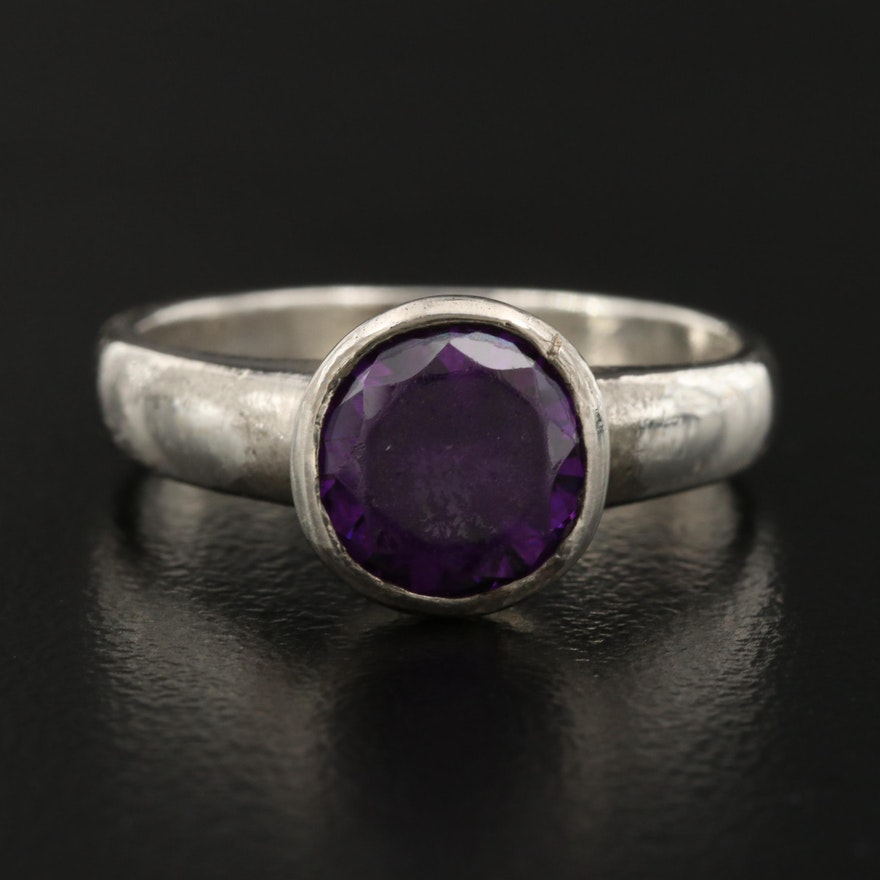 Sterling Silver Purple Glass Ring
