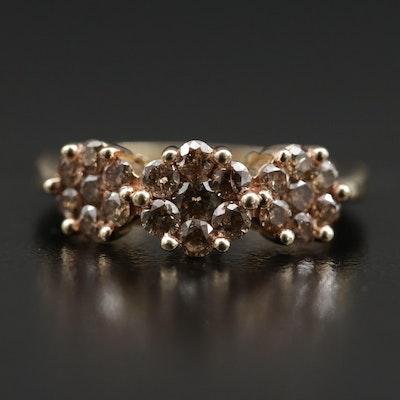 10K Diamond Cluster Trio Ring