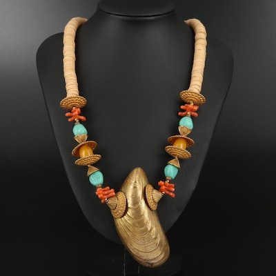"Vintage Miriam Haskell ""South Seas"" Wood and Imitation Gemstone Necklace"