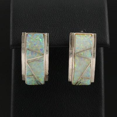 Sterling Opal Curved Bar Earrings