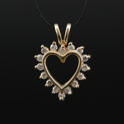 14K Diamond and Sapphire Double Sided Heart Pendant