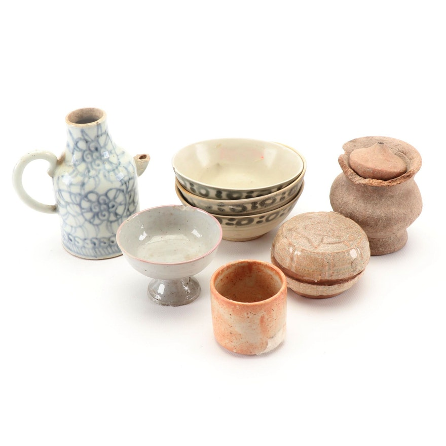 Chinese Song Dynasty Lidded Jarlet, Thai Jarlet, and Chinese Stoneware Vessels