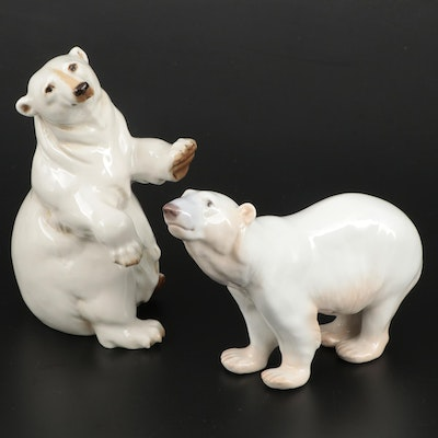 Bing & Grøndahl and Hutschenreuther Porcelain Polar Bear Figurines