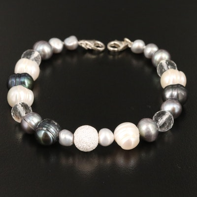 Sterling Silver Pearl and Rock Crystal Quartz Bracelet