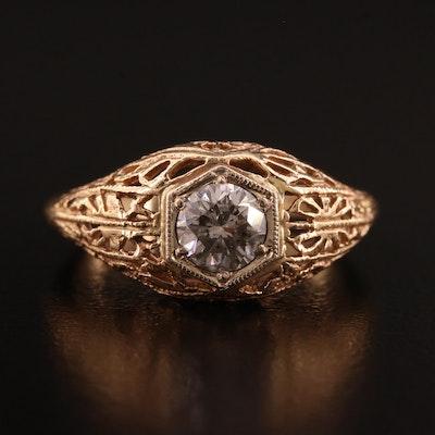 Edwardian Style 14K Diamond Openwork Ring