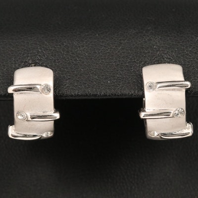 Sterling Silver Huggie Earrings with Matte Finish Accents