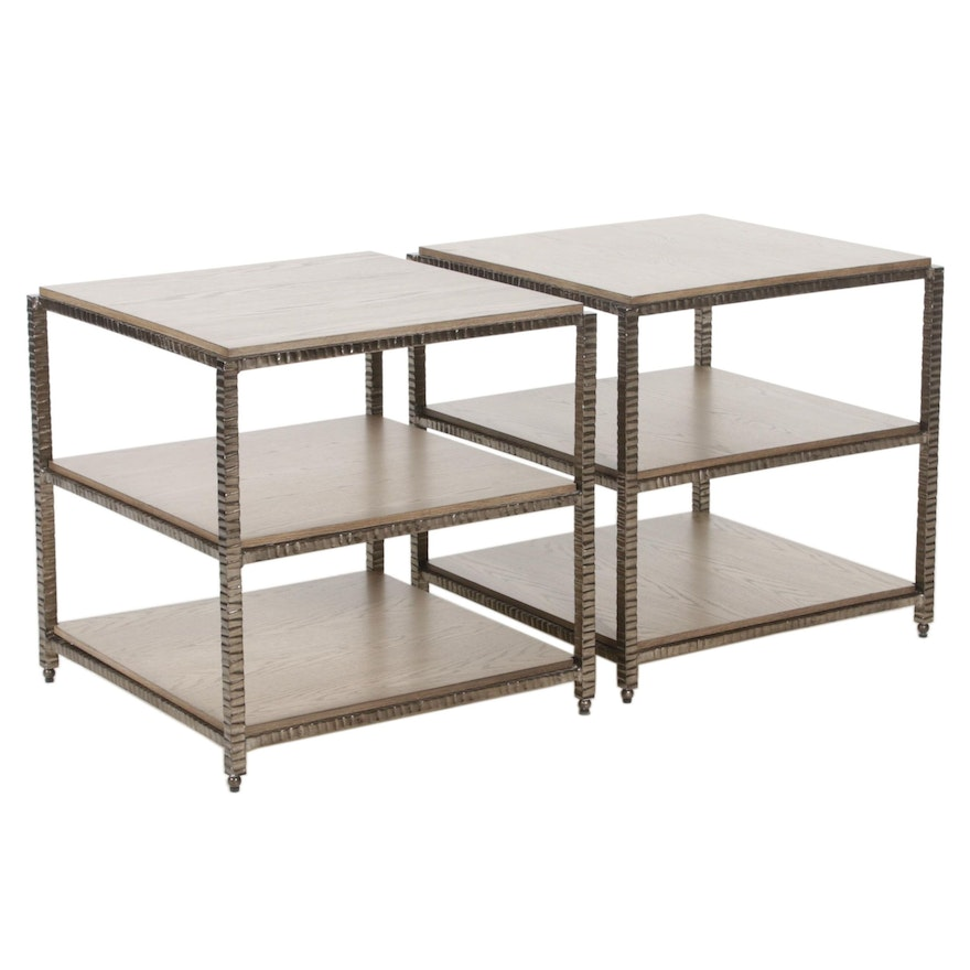 Whitewashed Oak and Metal Three Tiered Side Tables, 21st Century