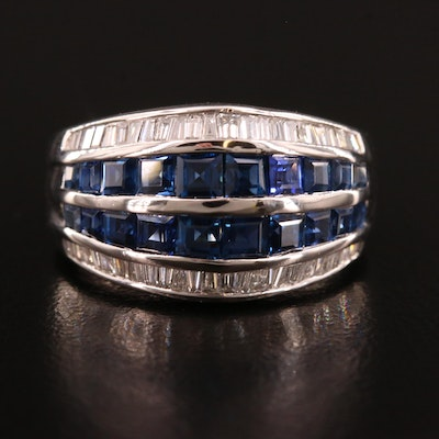 Platinum Sapphire and Diamond Tapered Channel Band