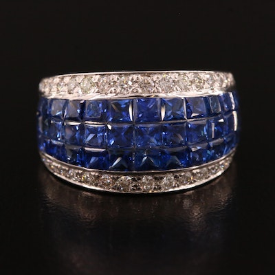 Platinum Sapphire and Diamond Tapered Ring