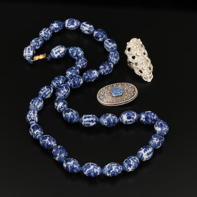 Glass Bead Necklace with Sterling Ring and 935 Silver Glass Brooch