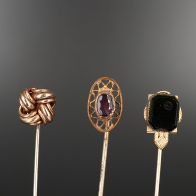Collection of Vintage Stick Pin Including Knot and Purple Glass Oval Pins