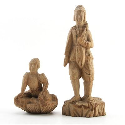 Burmese Hand Carved Teak Wood Figure Sculptures, 19th Century