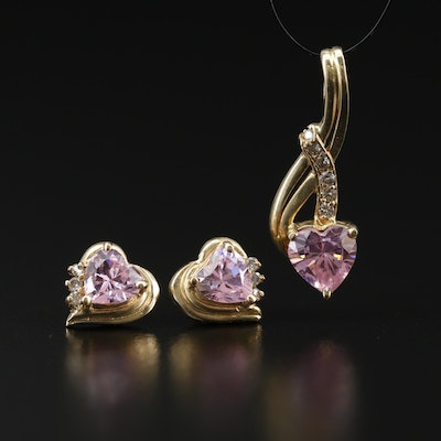 14K Pink Cubic Zironia and Diamond Heart Stud Earrings and Drop Pendant