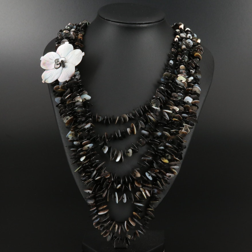 Graduating Mother Of Pearl Multi Strand Necklace