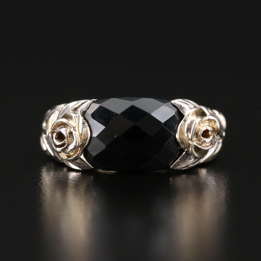 Sterling Black Onyx Ring with Rose Motif