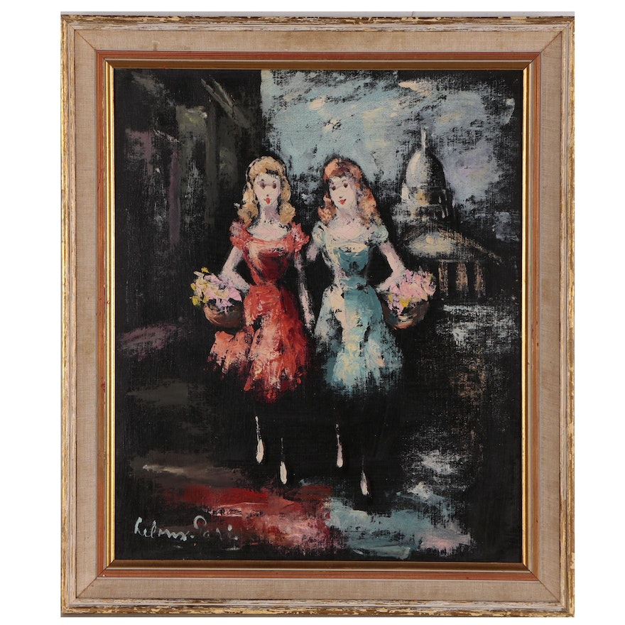 Oil Painting of Parisian Street Scene with Two Women, Mid/Late 20th Century