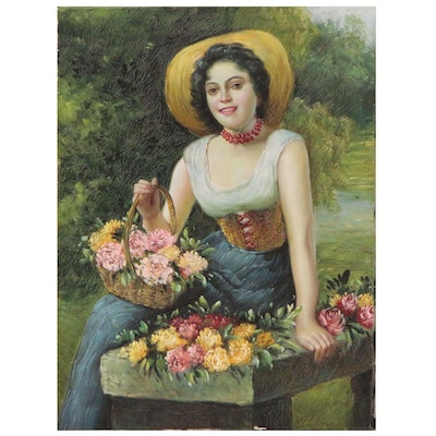 "Oil Painting After Gaetano Bellei ""A Beauty Holding a Basket of Roses"""