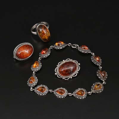 Sterling Silver Amber Ring, Bracelet and Brooches