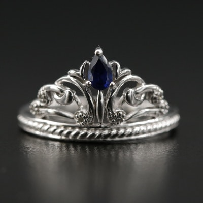 10K White Gold Diamond and Blue Sapphire Tiara Ring