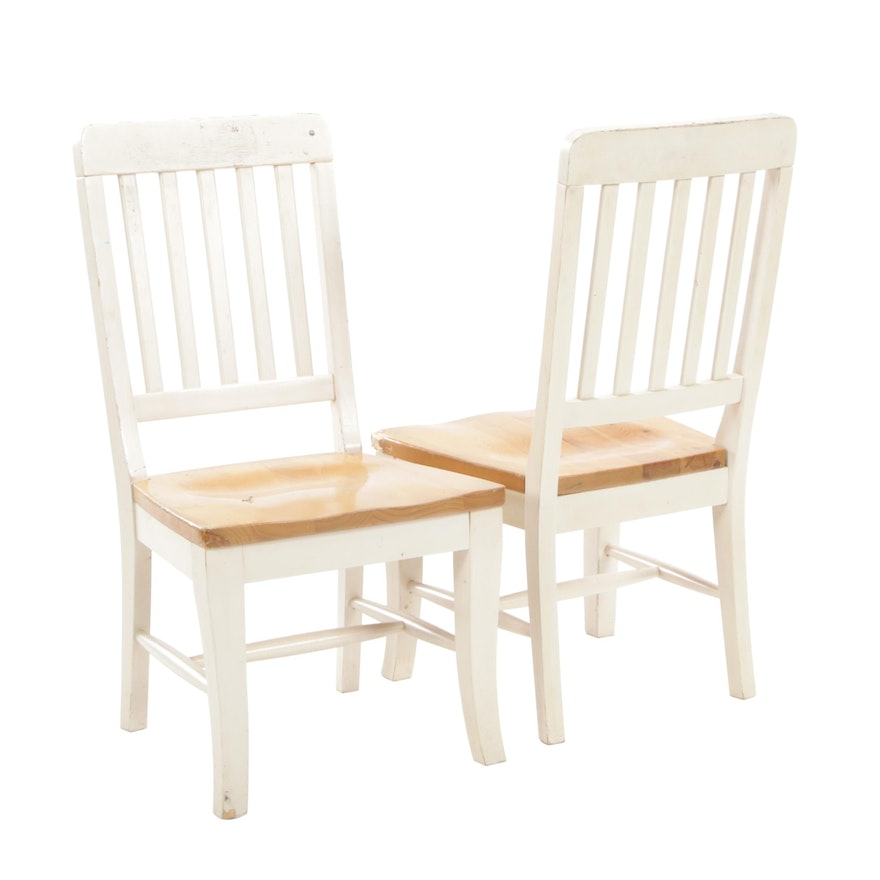 Pair of Pine and White-Painted Wood Side Chairs
