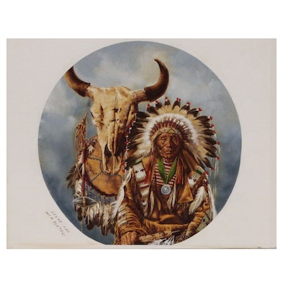 "Paul Calle Oil Painting ""Sioux Chief"", Mid to Late 20th Century"