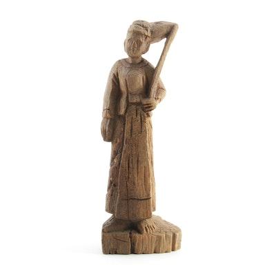Burmese Hand Carved Teak Wood Figure Sculpture, 19th Century