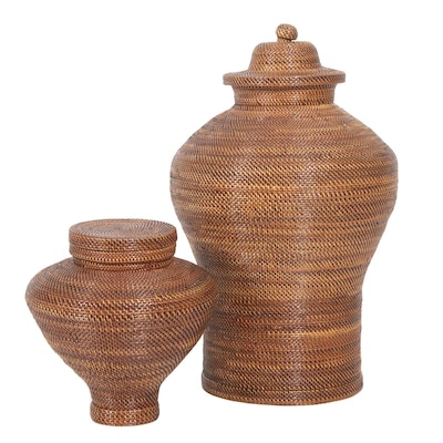 Woven Grass Storage Canisters, Contemporary, Set of Two