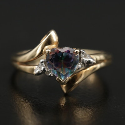 "10K ""Mystic"" Topaz and Diamond Heart Ring"