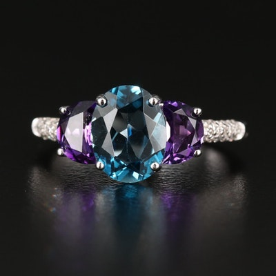 Sterling Silver Blue Topaz and Amethyst Ring with Diamond Accents