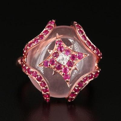 Sterling Silver Rose Quartz, Corundum and Diamond Ring