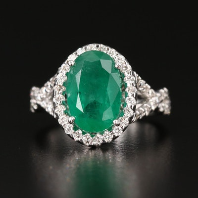 14K 3.18 CT Emerald and Diamond Ring